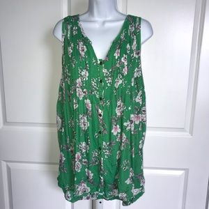Torrid Green Floral Sleeveless Tunic Top Pleated